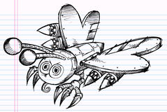 Doodle Battle Robot Butterfly Vector Royalty Free Stock Photos