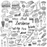 Doodle BBQ party icons set. Stock Photos