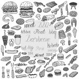Doodle BBQ party icons set. Royalty Free Stock Photography
