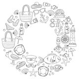 Doodle beach and Travel icons Hand drawn picture Royalty Free Stock Photography