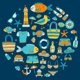Doodle beach and Travel icons Hand drawn picture Royalty Free Stock Image