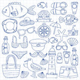 Doodle beach and Travel icons Hand drawn picture Stock Photo