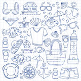 Doodle beach and Travel icons Hand drawn picture Stock Photos