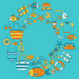 Doodle beach and Travel icons Hand drawn picture Stock Image