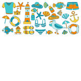 Doodle beach and Travel icons Hand drawn picture Stock Images