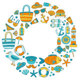 Doodle beach and Travel icons Hand drawn picture Royalty Free Stock Images