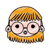 Doodle beauty girl head with glasses and hairstyle. Vector illustration royalty free illustration