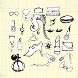 Doodle Beauty Style on Paper Royalty Free Stock Photo