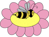 Doodle bee on a flower Stock Image
