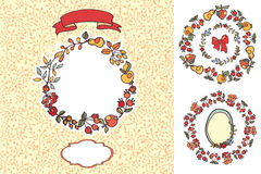Doodle berries,fruits design template set Stock Photography