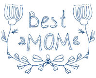 Doodle Best Mom blue floral greeting Royalty Free Stock Photos