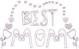 Doodle Best Mom pink floral greeting Stock Photos