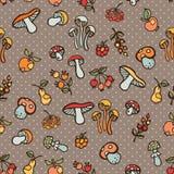 Doodle bezszwowy wzór Jesieni żniwa wektor Polki kropka Zdjęcie Royalty Free
