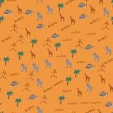 Doodle bezszwowy wzór z Afrykańskimi zwierzętami ilustracja wektor