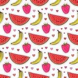 Doodle bezszwowy wzór z owoc Banana, truskawki i arbuza wektoru tło, Opakunkowy papier lub tkanina ilustracja wektor
