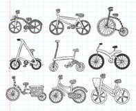 Doodle bicycle icons Stock Photo