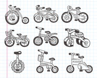 Doodle bicycle icons. Cartoon vector illustration royalty free illustration