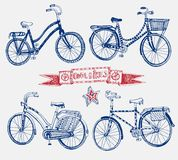 Doodle bicycle set. Vector hand drawn stylish city bicycle set. Editable isolated objects Stock Photo