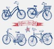 Doodle bicycle set Stock Photo