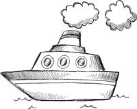Doodle Big Boat Vector Stock Photography