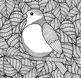 Doodle bird on black and white background with leaves. Vector illustration for coloring Stock Photography