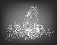 Doodle bird and bouquet of flowers and leaves. On chalkboard background. Template design for invitations, cards and more Stock Images