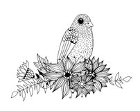 Doodle bird and bouquet of flowers and leaves. On white background. Template design for invitations, cards and more Stock Photography