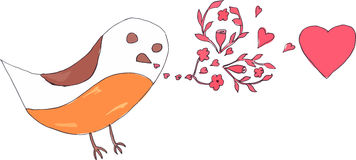 Doodle bird with flowers and hearts Stock Photography