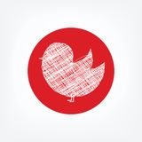 Doodle bird icon in red circle on white background Royalty Free Stock Image