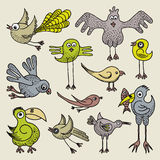 Doodle birds. Illustration of hand drawn funny birds set Royalty Free Stock Photo