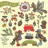 Doodle birds,berries,braches,wood,decor.Autumn woodland Stock Image