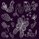 Doodle birds, leaves, fish and butterflies Royalty Free Stock Image