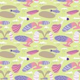 Doodle birds seamless pattern.Background with flying seagulls characters. Vector illustration stock images