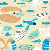 Doodle birds seamless pattern.Background with flying seagulls characters. Vector illustration stock photos