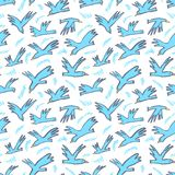 Doodle birds seamless pattern. Background with funny flying ani. Mals in the sky. Vector illustration in cute hand drawn incomplete children style. Design Vector Illustration