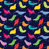 Doodle birds seamless pattern. Background with funny flying an. Imals. Vector illustration in cute hand drawn incomplete children style. Design element for stock illustration