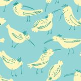 Doodle birds seamless pattern. Background with funny flying an vector illustration