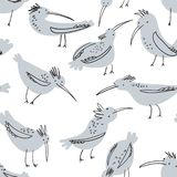 Doodle birds seamless pattern. Background with funny flying an stock illustration