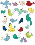 Doodle Birds Set. A Set of 20 hand drawn doodle style birds in spring colors Royalty Free Stock Images