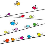 Doodle birds on strings Stock Image