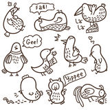 Doodle birds. Royalty Free Stock Photography