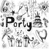Doodle birthday element Stock Photo