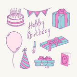Doodle birthday item collection Royalty Free Stock Photography