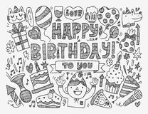 Doodle Birthday party background Stock Photo