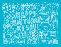 Doodle Birthday party background Royalty Free Stock Photos