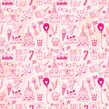 Doodle Birthday party background seamless pattern Royalty Free Stock Image