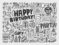 Doodle Birthday party background Stock Image