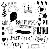 Doodle Birthday party elements Hand drawn scetch Stock Images