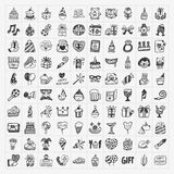 Doodle birthday party icons Stock Photo