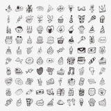100 Doodle Birthday party icons set. Cartoon vector illustration stock illustration